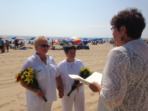 Happy Couple Married on Rehoboth Beach by Reverend Sharon